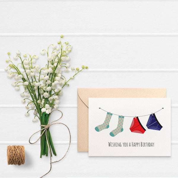 Undies and Socks Greeting Card by mumandmehandmadedesigns- An Australian Online Stationery and Card Shop