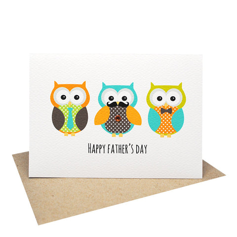 Owl Dads in Row-Greeting Card-mumandmehandmadedesigns