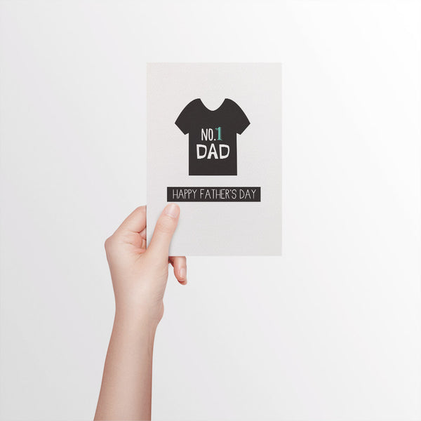 No. 1 Dad T-shirt Greeting Card by mumandmehandmadedesigns- An Australian Online Stationery and Card Shop