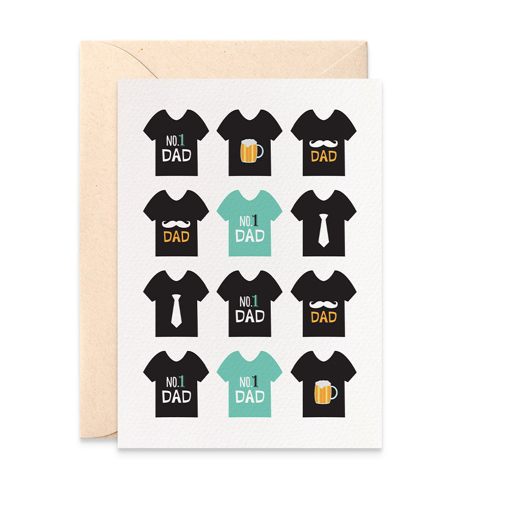 Black Dad T-shirts Greeting Card by mumandmehandmadedesigns- An Australian Online Stationery and Card Shop