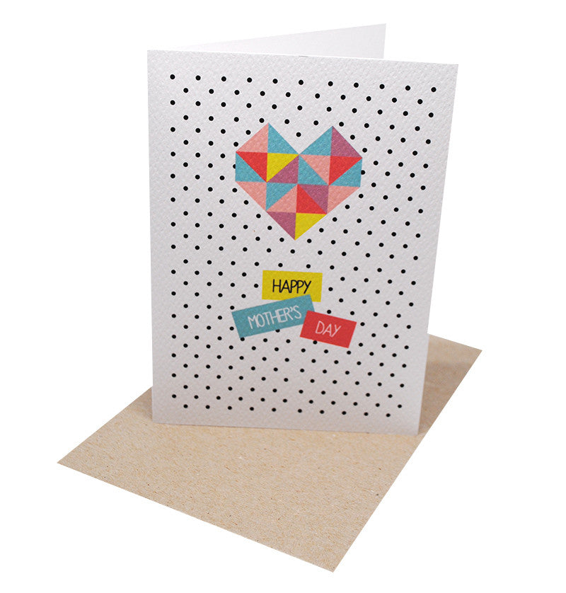 Geometric Love Heart Greeting Card by mumandmehandmadedesigns- An Australian Online Stationery and Card Shop