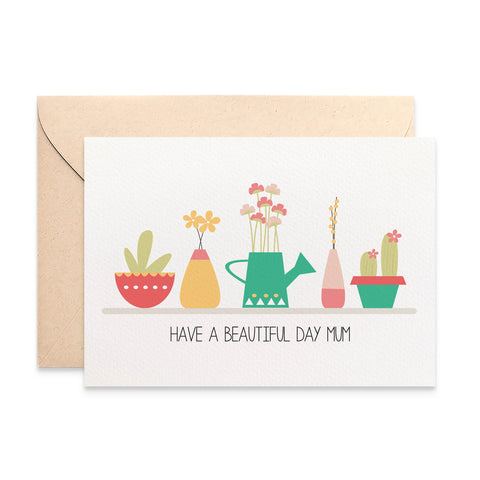 Succulent and Pot Plants Greeting Card by mumandmehandmadedesigns- An Australian Online Stationery and Card Shop