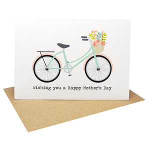 Mint and Coral Bicycle-Greeting Card-mumandmehandmadedesigns