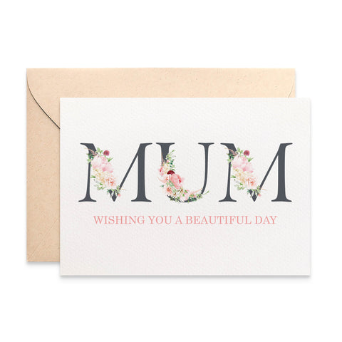 Floral Letters MUM Greeting Card by mumandmehandmadedesigns- An Australian Online Stationery and Card Shop