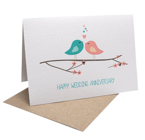 Turquoise and Pink Birds-Greeting Card-mumandmehandmadedesigns