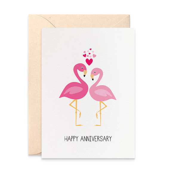 Pink Flamingos with Hearts Greeting Card by mumandmehandmadedesigns- An Australian Online Stationery and Card Shop