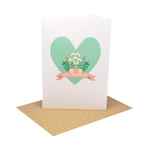 Heart with Flowers and Banner-Greeting Card-mumandmehandmadedesigns