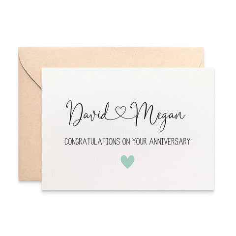 Personalised - Anniversary Names with Heart Greeting Card by mumandmehandmadedesigns- An Australian Online Stationery and Card Shop