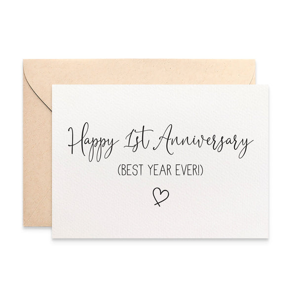 Happy 1st Anniversary Greeting Card by mumandmehandmadedesigns- An Australian Online Stationery and Card Shop