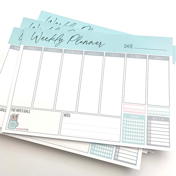 Blue Weekly Planner Notepad A4