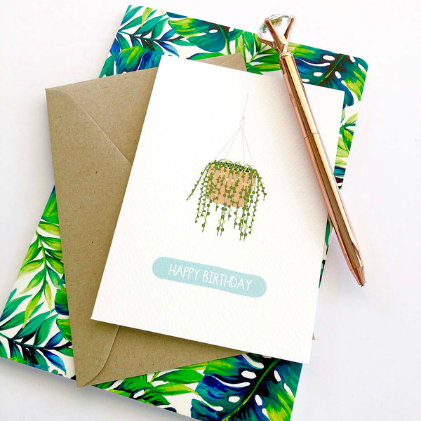 Hanging Pot Plant Greeting Card by mumandmehandmadedesigns- An Australian Online Stationery and Card Shop