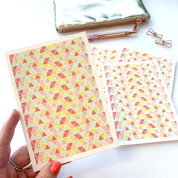 Set of 5 - Triangles Pink Greeting Cards by mumandmehandmadedesigns- An Australian Online Stationery and Card Shop