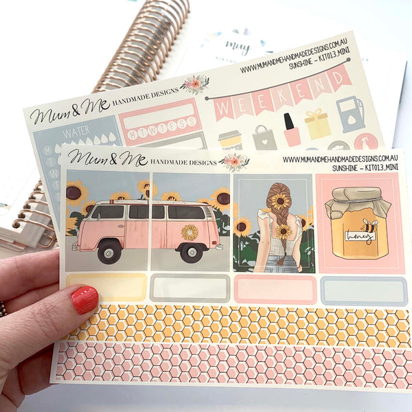 Mini Kit: Sunshine-Planner Stickers by Mum and Me Handmade Designs - An Australian Online Stationery, Planner Stickers and Card Shop