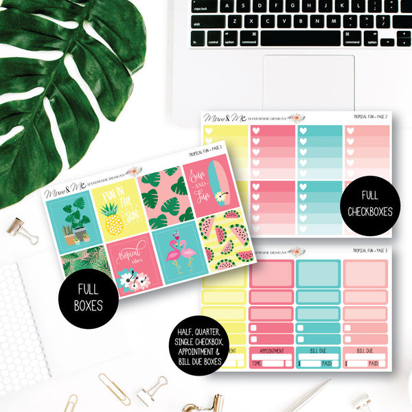 Weekly Kit - Tropical Fun Planner Stickers by mumandmehandmadedesigns- An Australian Online Stationery and Card Shop