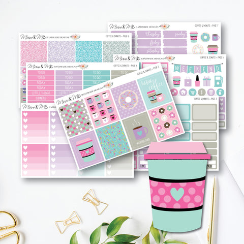 Weekly Kit - Coffee & Donuts-Planner Stickers by Mum and Me Handmade Designs - An Australian Online Stationery, Planner Stickers and Card Shop