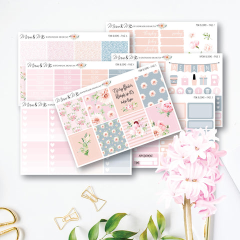 Weekly Kit - Pink Blooms-Planner Stickers by Mum and Me Handmade Designs - An Australian Online Stationery, Planner Stickers and Card Shop