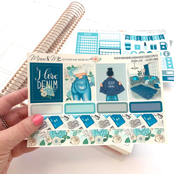 Mini Kit: Denim Love-Planner Stickers by Mum and Me Handmade Designs - An Australian Online Stationery, Planner Stickers and Card Shop