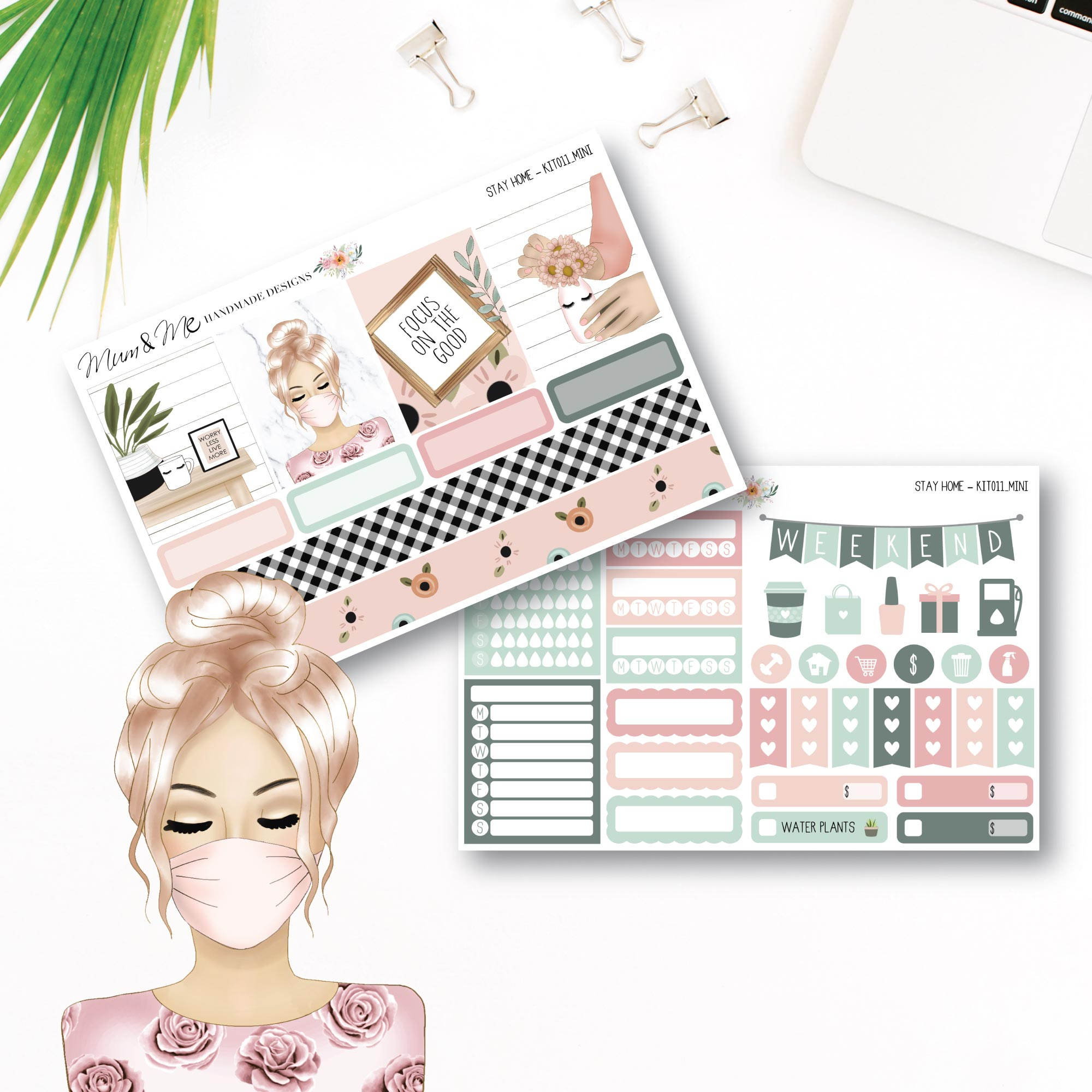 Mini Kit: Stay Home-Planner Stickers by Mum and Me Handmade Designs - An Australian Online Stationery, Planner Stickers and Card Shop