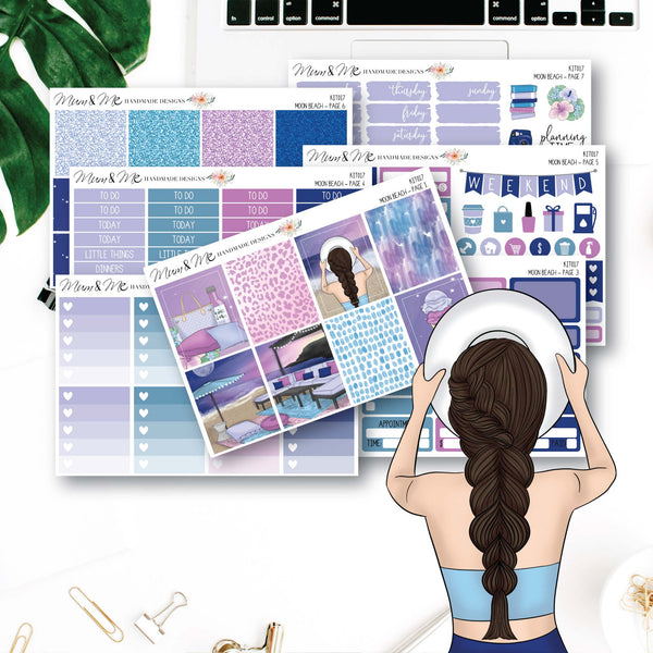 Weekly Kit: Moon Beach-Planner Stickers by Mum and Me Handmade Designs - An Australian Online Stationery, Planner Stickers and Card Shop