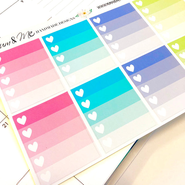 Stickers - Ombre Heart Checklist Planner Stickers by mumandmehandmadedesigns- An Australian Online Stationery and Card Shop