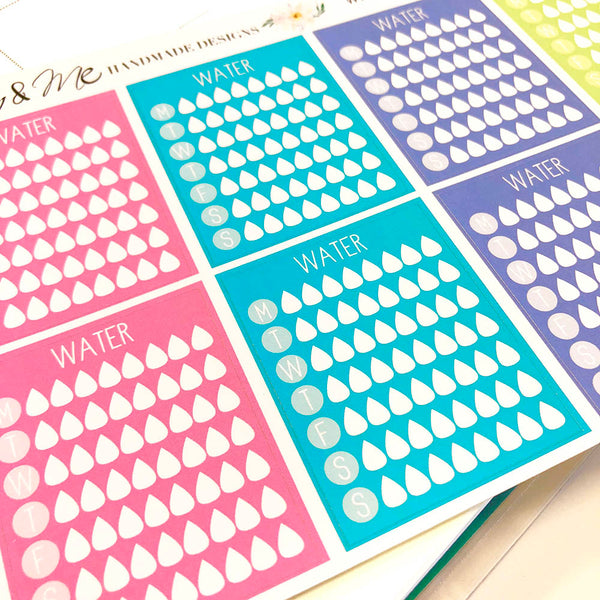 Stickers - Water Tracker Planner Stickers by mumandmehandmadedesigns- An Australian Online Stationery and Card Shop