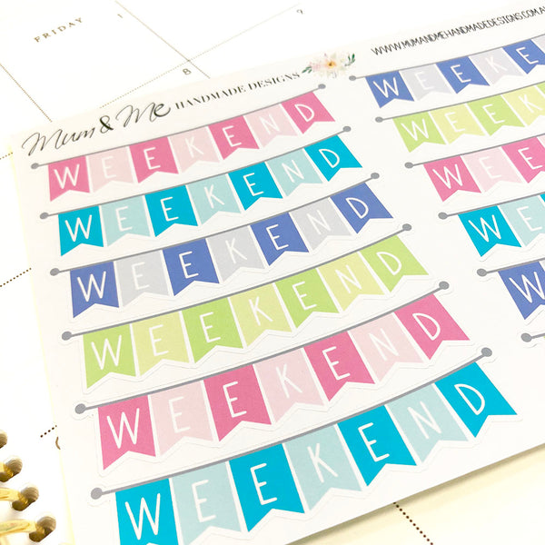 Stickers - Weekend Banner Planner Stickers by mumandmehandmadedesigns- An Australian Online Stationery and Card Shop