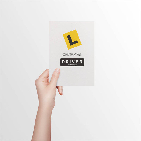 Congrats L Plate Driver Greeting Card by mumandmehandmadedesigns- An Australian Online Stationery and Card Shop