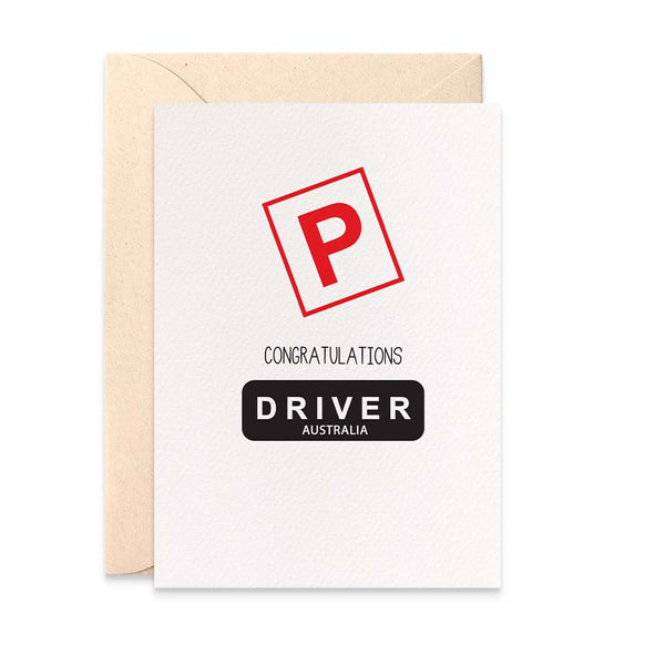 P Plate Driver Greeting Card by mumandmehandmadedesigns- An Australian Online Stationery and Card Shop