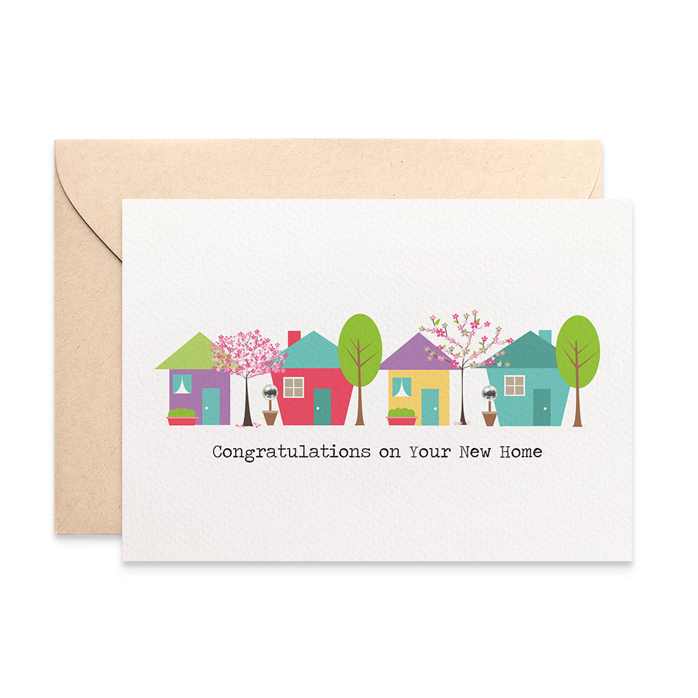 Houses with Trees Greeting Card by mumandmehandmadedesigns- An Australian Online Stationery and Card Shop