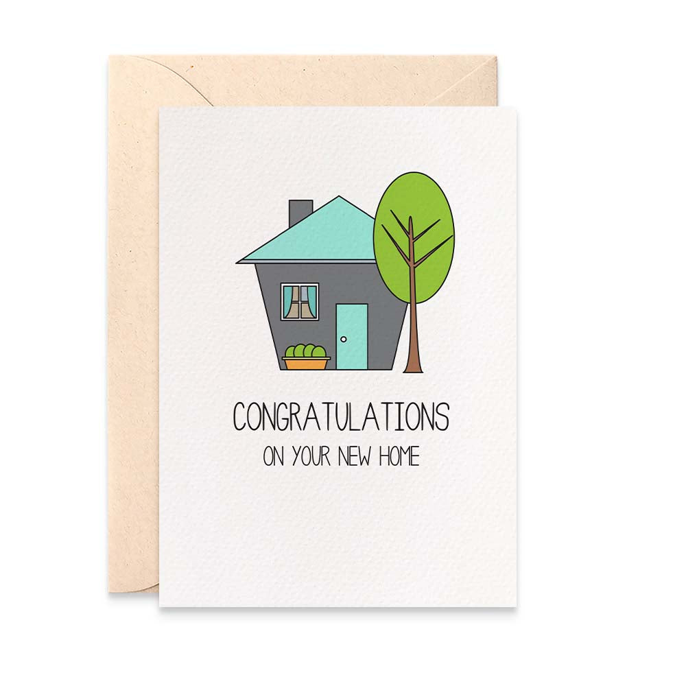 Blue and Grey House Greeting Card by mumandmehandmadedesigns- An Australian Online Stationery and Card Shop