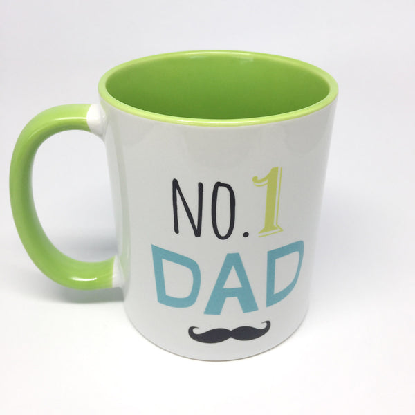 Mug - No. 1 Dad Coffee Mug by mumandmehandmadedesigns- An Australian Online Stationery and Card Shop
