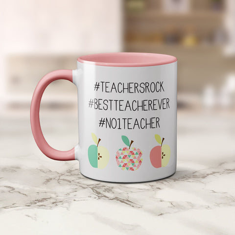 Mug - Teacher Hashtags Pink Coffee Mug by mumandmehandmadedesigns- An Australian Online Stationery and Card Shop