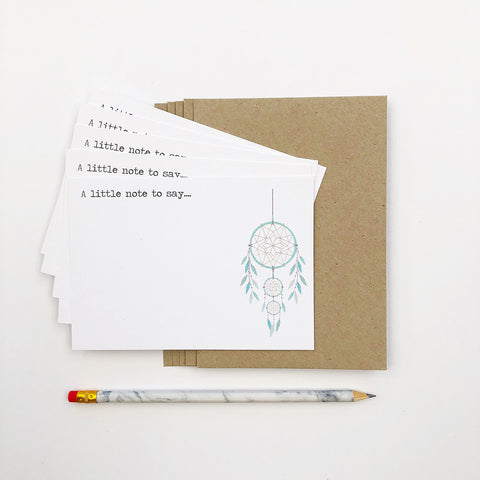 Set of 5 - Dreamcatcher Notecards by mumandmehandmadedesigns- An Australian Online Stationery and Card Shop