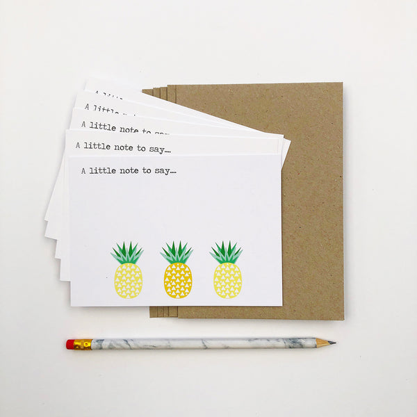 Set of 5 - Pineapples Notecards by mumandmehandmadedesigns- An Australian Online Stationery and Card Shop