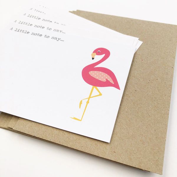 Set of 5 - Flamingo Notecards by mumandmehandmadedesigns- An Australian Online Stationery and Card Shop