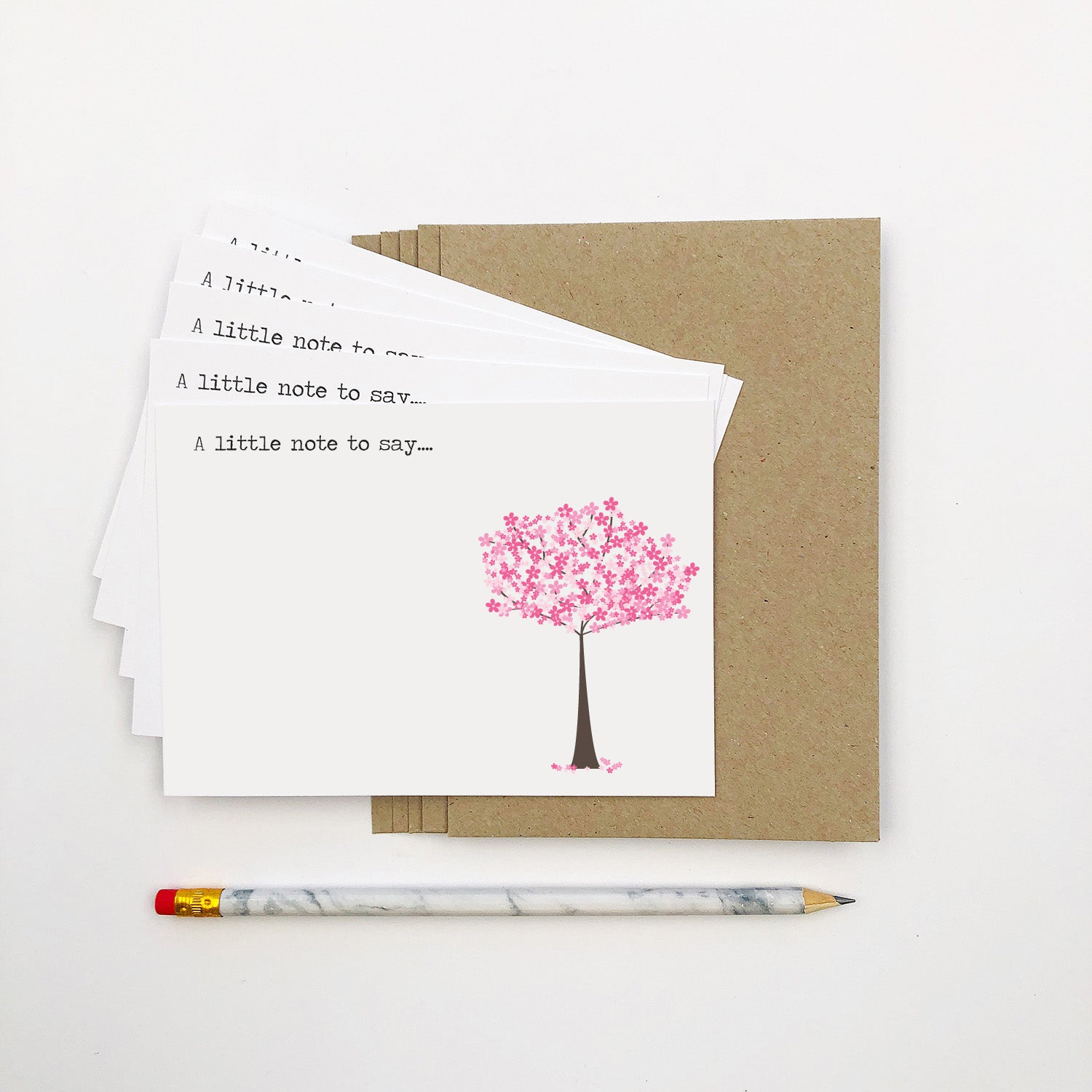 Set of 5 - Cherry Blossom Notecards by mumandmehandmadedesigns- An Australian Online Stationery and Card Shop