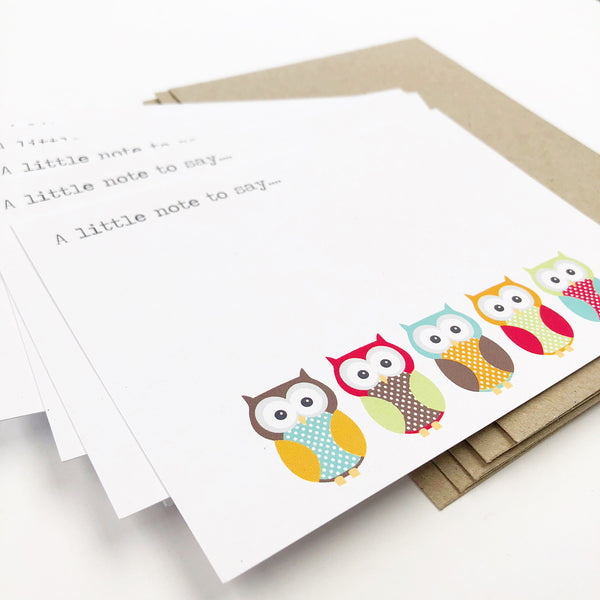 Set of 5 - Owls Notecards by mumandmehandmadedesigns- An Australian Online Stationery and Card Shop