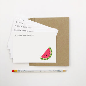 Set of 5 - Watermelon Notecards by mumandmehandmadedesigns- An Australian Online Stationery and Card Shop