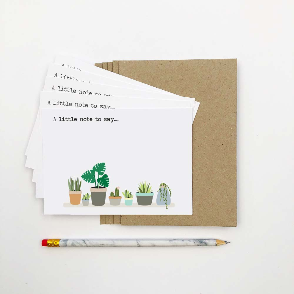Set of 5 - Indoor Plants Notecards by mumandmehandmadedesigns- An Australian Online Stationery and Card Shop