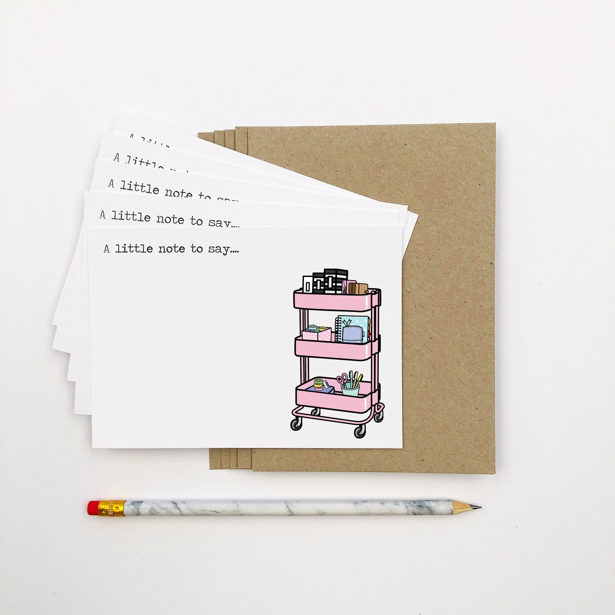 Set of 5: Planner Trolley Notecards by mumandmehandmadedesigns- An Australian Online Stationery and Card Shop