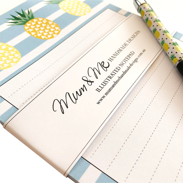 Pineapple Notepad A5 Notepads by mumandmehandmadedesigns- An Australian Online Stationery and Card Shop