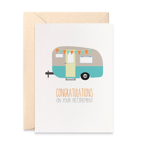 Caravan Camper Retirement Greeting Card by mumandmehandmadedesigns- An Australian Online Stationery and Card Shop