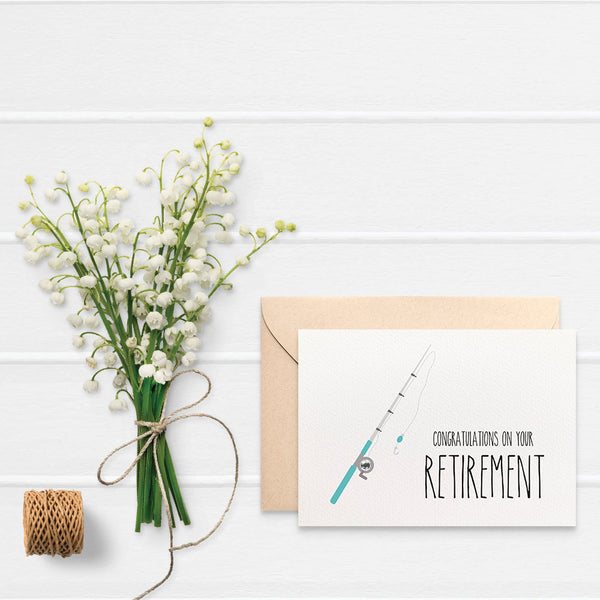 Retirement - Blue Fishing Rod Greeting Card by mumandmehandmadedesigns- An Australian Online Stationery and Card Shop
