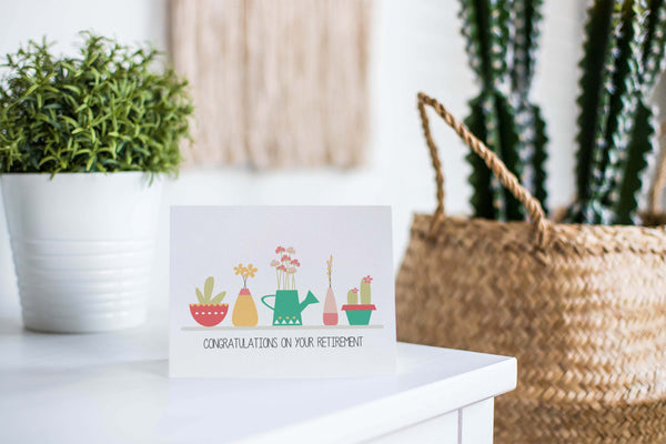 Retirement - Pot Plants Greeting Card by mumandmehandmadedesigns- An Australian Online Stationery and Card Shop
