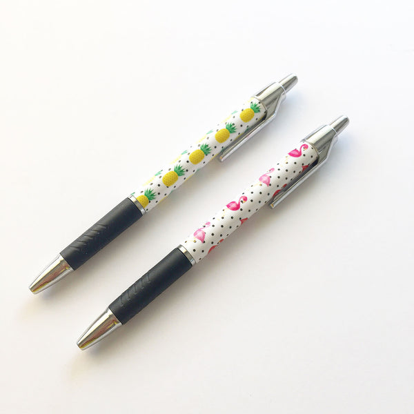 Pens - Flamingo/Pineapple Pens by mumandmehandmadedesigns- An Australian Online Stationery and Card Shop