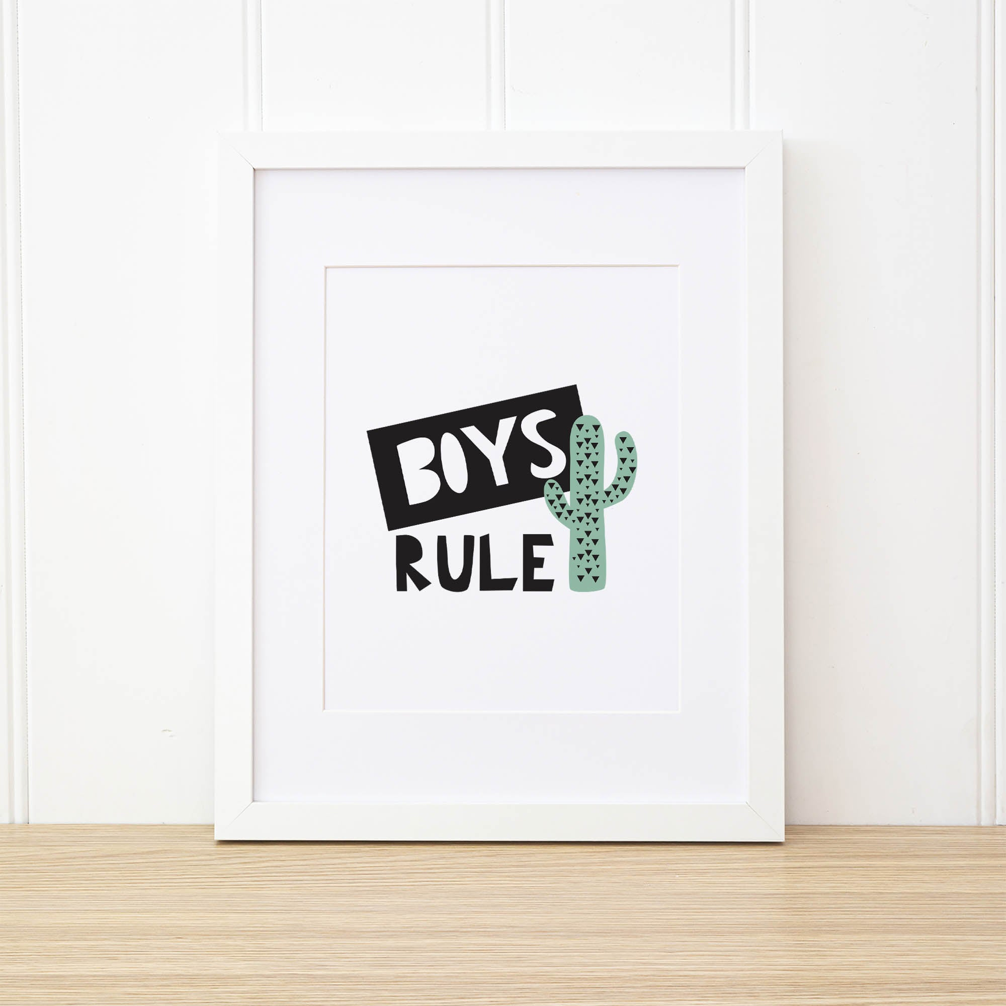 Printable Wall Art - Boys Rule Wall Art Print by mumandmehandmadedesigns- An Australian Online Stationery and Card Shop