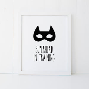Print - Superhero in Training Wall Art Print by mumandmehandmadedesigns- An Australian Online Stationery and Card Shop