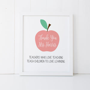 Personalised Teacher Print Pink Wall Art Print by mumandmehandmadedesigns- An Australian Online Stationery and Card Shop