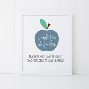 Personalised Teacher Print Blue Wall Art Print by mumandmehandmadedesigns- An Australian Online Stationery and Card Shop