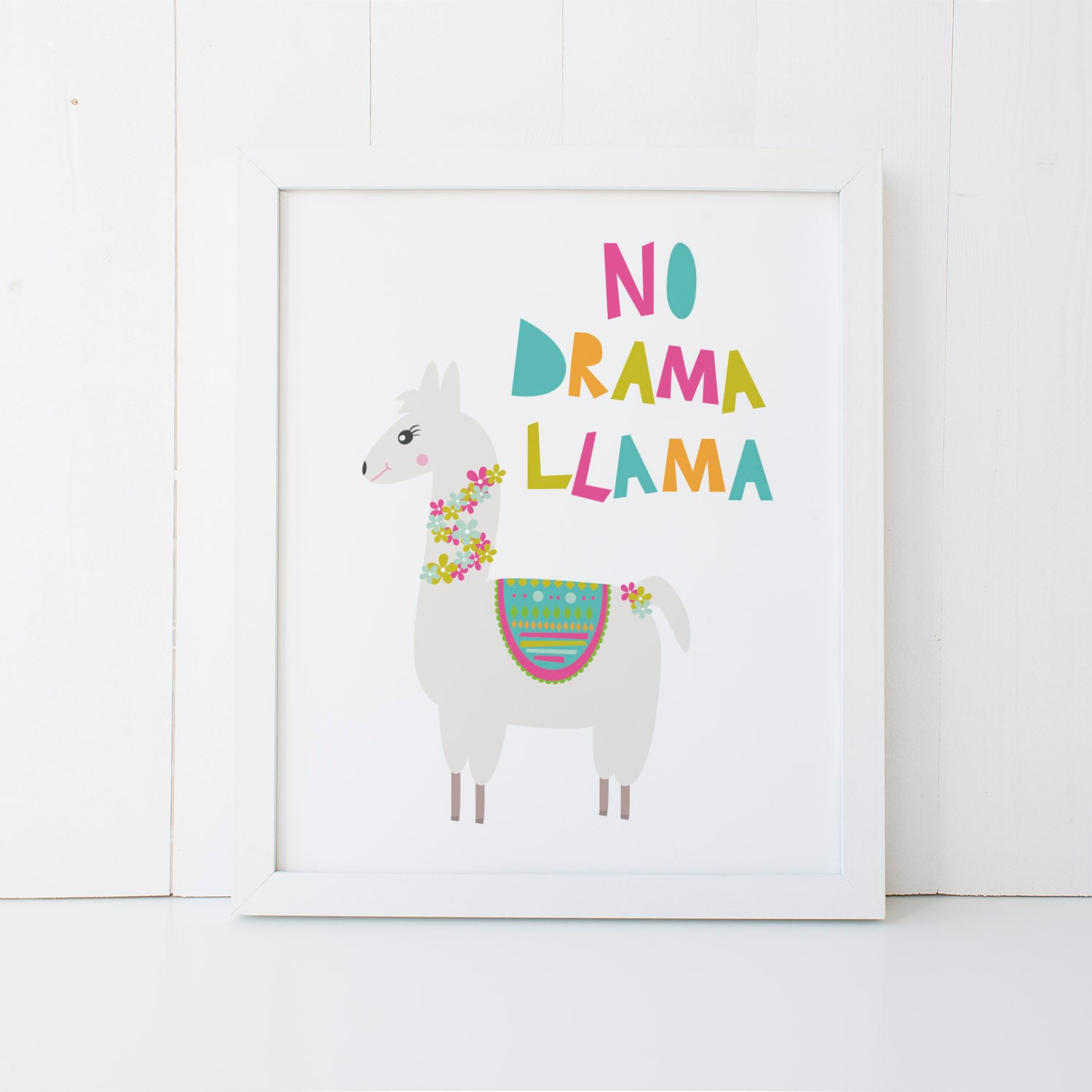 No Drama Llama Print Wall Art Print by mumandmehandmadedesigns- An Australian Online Stationery and Card Shop